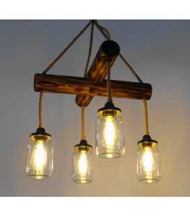 Κρεμαστό φωτιστικό οροφής από ξύλο, σχοινί και γυάλινα βάζα 148
