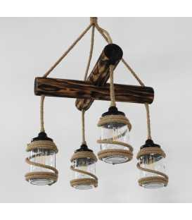 Κρεμαστό φωτιστικό οροφής από ξύλο, σχοινί και γυάλινα βάζα 149