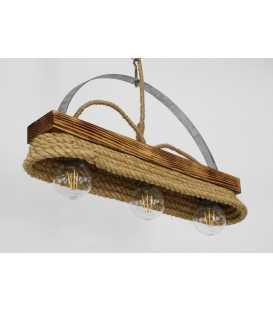 Κρεμαστό φωτιστικό οροφής από ξύλο, μέταλλο και σχοινί 150