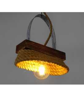 Κρεμαστό φωτιστικό οροφής από ξύλο, μέταλλο και σχοινί 152