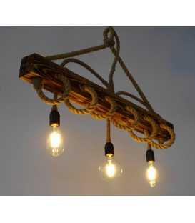 Κρεμαστό φωτιστικό οροφής από ξύλο και σχοινί 157