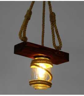 Κρεμαστό φωτιστικό οροφής από ξύλο, σχοινί και γυάλινα βάζα 167