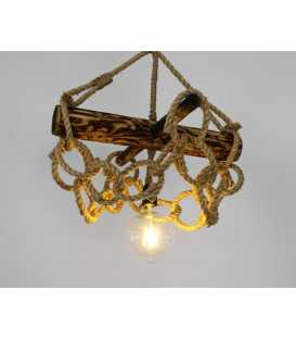 Wood and rope pendant light 168