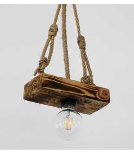 Holz und Seil hängende Deckenleuchte 178