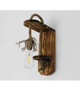 Wood and rope wall light 190